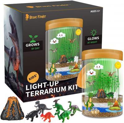 Light-up Dino World Terrarium Kit, 6 Dinosaur Toys with Colorful LED on Lid - STEM Educational DIY Science Kit