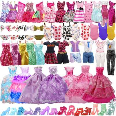 35 Pack Handmade Doll Clothes Including 5 Wedding Gown Dresses 5 Fashion Dresses 4 Braces Skirt 3 Tops and Pants 3 Bikini Swimsuits 15 Shoes for 11.5 Inch Dolls