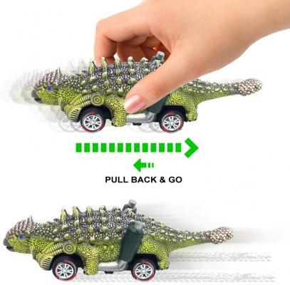 DINOBROS Dinosaur Toy Pull Back Cars, 6 Pack Dino Toys