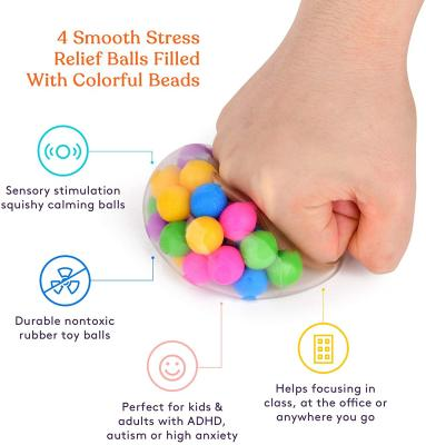 DNA Squish Stress Ball (4-Pack) Squeeze, Color Sensory Toy