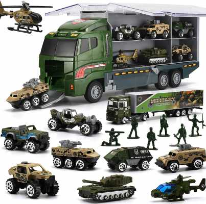 26 Pcs Military Truck with Soldier Men Set, Mini Die-cast Battle Car in Carrier Truck, Army Toy Double Side Transport Vehicle