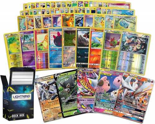 Ultra Rare Pokémon Bundle- 50+ Random Cards= 50 Cards + 3 foil Cards, 1 Legendary Ultra-Rare Card, Plus a Lightning Card Collection Deck Box