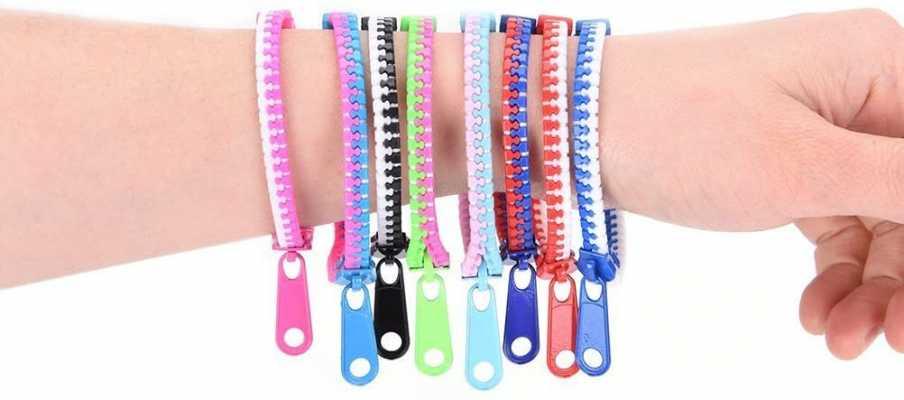 20pcs Assorted Color Zipper Bracelet