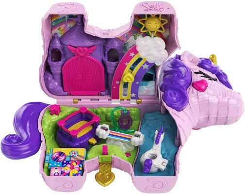 Polly Pocket Unicorn Party Large Compact Playset with Micro Polly & Lila Dolls