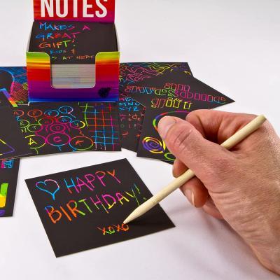 Purple Ladybug Rainbow Scratch Off Mini Art Notes +2 Wooden Stylus Set