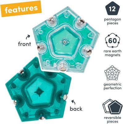Speks Geode Magnetic Fidget Sphere - Pentagons 12-Piece Set