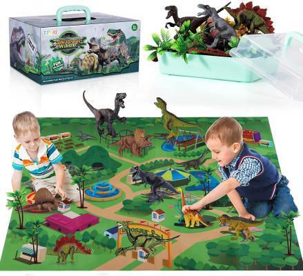 TEMI Dinosaur Toy Figure w/ Activity Play Mat & Trees, Educational Realistic Dinosaur Playset to Create a Dino World