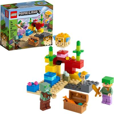 LEGO Minecraft The Coral Reef 21164 Hands-on Minecraft Marine Toy Featuring Alex, a Drowned and 2 Cool Puffer Fish, New 2021 (92 Pieces)