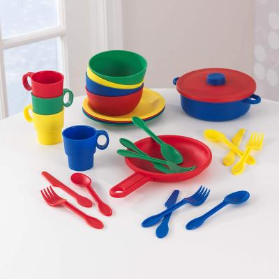 KidKraft 27-Piece Primary Colored Cookware Set, Plastic Dishes and Utensils for Play Kitchens