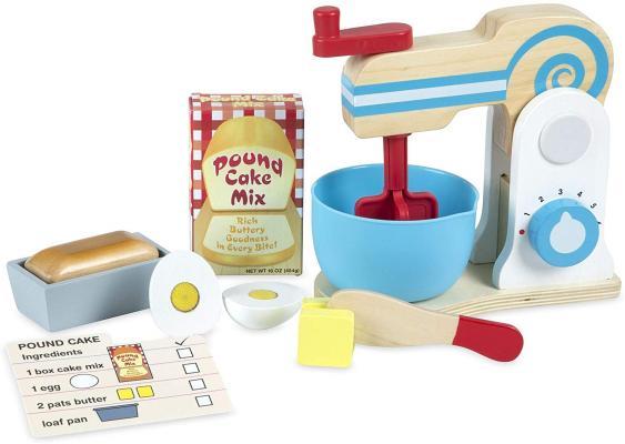 Melissa & Doug Wooden Make-a-Cake Mixer Set (11 pcs) - Play Food and Kitchen Accessories