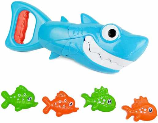 INvench Shark Grabber Baby Bath Toys - 2021 Upgraded Blue Shark with Teeth Biting Action