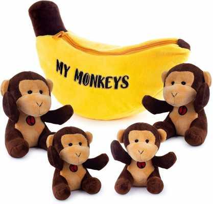 My Monkeys Plush Toy Set - Includes 4 Talking Soft Fluffy Plush Monkeys with A Plush Banana Shaped Carrier