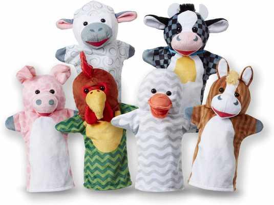 Melissa & Doug Barn Buddies Hand Puppets, Set of 6 (Cow, Sheep, Horse, Duck, Chicken, Pig)