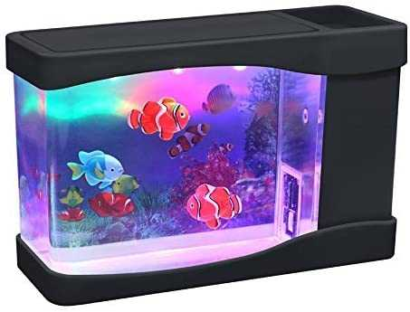 Playlearn Mini Artificial Fish Tank with Moving Fish - USB/Battery Powered - Fake Aquarium