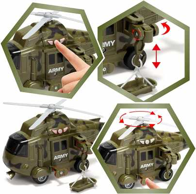 JOYIN 3 PC Friction Powered Military Helicopter Squadron Toy Set with Light and Sound Sirens