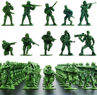 2-Inch Plastic Army Men Action Figures, 10 Unique Sculpts, Pack of 100 (Green)