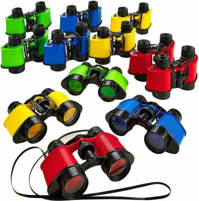 Kicko 12 Toy Binoculars with Neck String 3.5 x 5 Inches