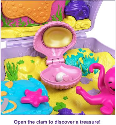 Polly Pocket Tiny Power Seashell Purse Compact with Wearable Strap