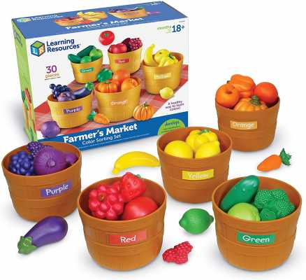 Learning Resources Farmer's Market Color Sorting Set, Homeschool, Play Food, Fruits and Vegetables Toy, Easter Toys, 30 Piece Set